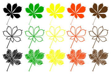 buckeye leaf - color set, buckeye leaf
