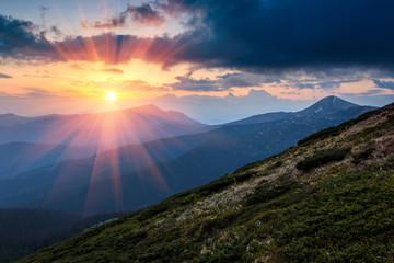 Fototapeten Gebirge Mountains at sunset.
