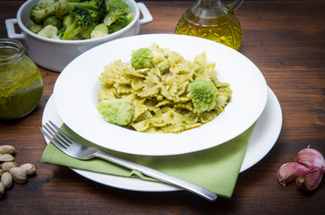 pasta with broccoli pesto and pistachios