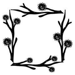 rustic square branches with flowers
