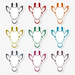 Giraffe face, flat animal face icon vector