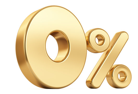 3d render illustration. Golden zero percent on a white background.