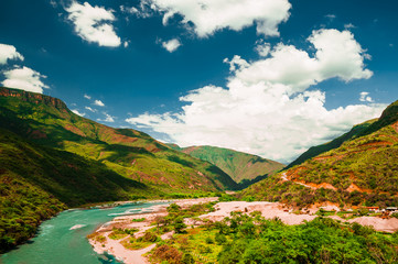 view on gorge in Chicamocha national park in Colombia