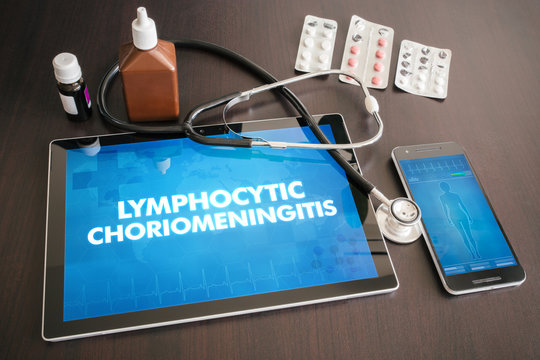 Lymphocytic choriomeningitis (infectious disease) diagnosis medical concept on tablet screen with stethoscope