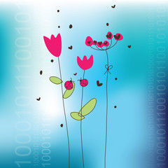 Greeting card. Spring flowers. Ladybugs.