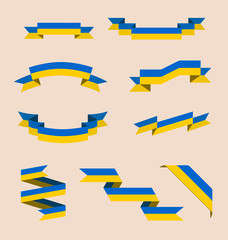 Vector set of scrolled isolated ribbons or banners in colors of Ukrainian flag.