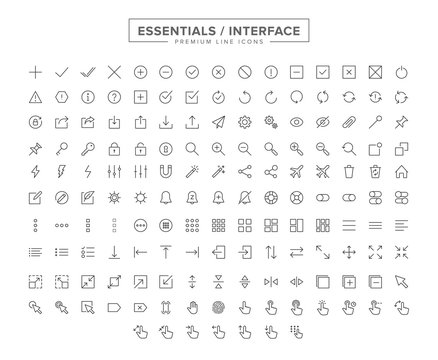 Essentials Interface line icon set