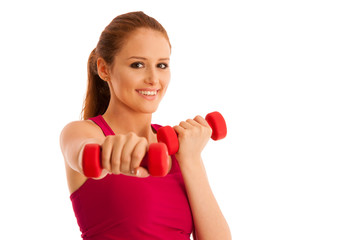 fitness gym - woman works out with dumbbells isolated over white background