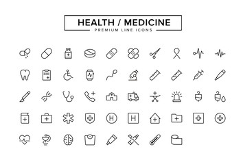 Health Medicine Line Icon Set