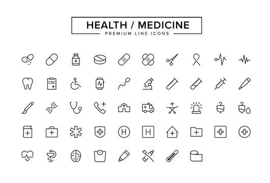 Health Medicine Line Icon Set