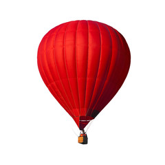 Red air balloon isolated on white with alpha channel and work path, perfect for digital composition