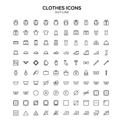 clothes outline icon set
