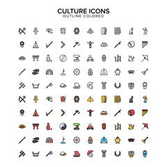 culture outline colored icon set