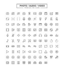 Photo Audio Video Line Icon Set