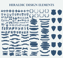 Heraldic Design Elements set bundle