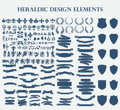 Heraldic Design Elements set bundle