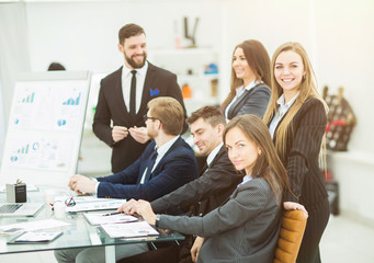 business team working on a new presentation in the workplace in modern office