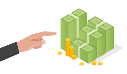 Businessman hand points a stack of green dollars money vector illustration