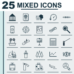 Set Of 25 Universal Editable Icons. Can Be Used For Web, Mobile And App Design. Includes Elements Such As Streetcar, Call Duration, Project Analysis And More.