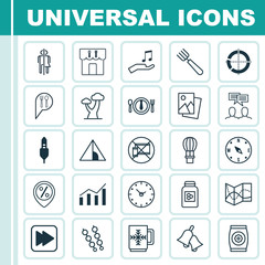 Set Of 25 Universal Editable Icons. Can Be Used For Web, Mobile And App Design. Includes Elements Such As Note Donate, Winter Cup, Restaurant And More.