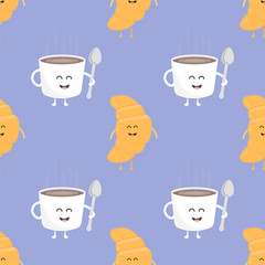 Coffee and croissant seamless pattern. Template for kids menu restaurant. Vector illustration