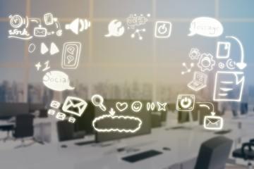Composite image of composite image of social media symbols  3d