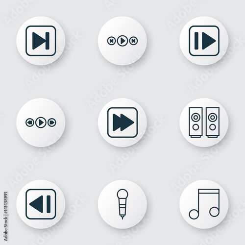 Set Of 9 Music Icons  Includes Audio Buttons, Skip Song