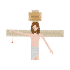drawing jesus christ nailed the cross vector illustration eps 10