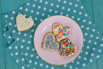 Various gingerbread cookies served in plate