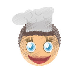 drawing female chef emoticon image vector illustration eps 10