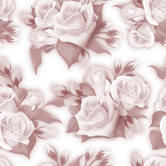 Elegant seamless background with roses in monochrom sepia style. Vintage pattern with floral ornament useful as background. Sepia seamless roses pattern. Vector