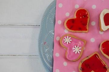 Wall Mural - Heart shape gingerbread cookies on plate