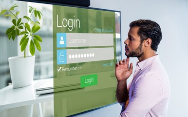 Composite image of close-up of login page