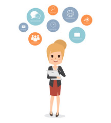 business woman communication infographic character. people working flat design vector.