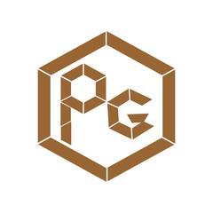 letter PG brown color logo vector