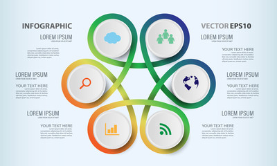 Circle graphic vector elements for infographic. Template chart diagram, graph, presentation, workflow for business work. Abstract design background illustrator.
