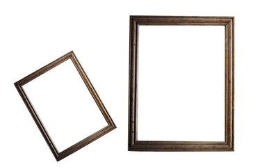 old wooden photo frames with texture background isolated on white background ,retro or vintage style with copy space,soft focus .