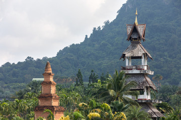 oldest building in the tropical forest of Asia against the backdrop of the hill