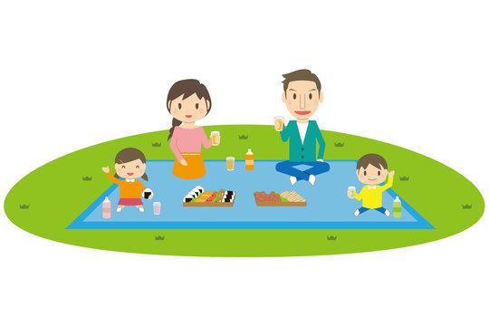 かわいい家族 レジャー お弁当を広げてピクニック 行楽 4人家族