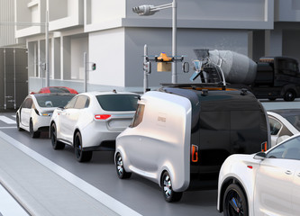 Delivery van stuck in traffic jam. The van released a delivery drone to delivering a cardboard parcel. 3D rendering image.