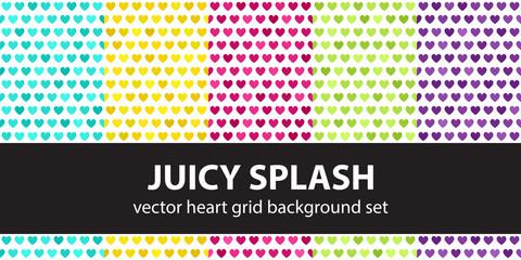 "Heart pattern set ""Juicy Splash"". Vector seamless backgrounds"
