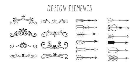 Set of hand drawn design elements.