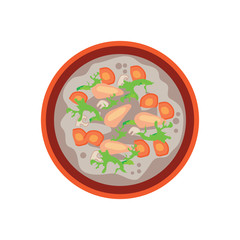 hot sausage soup with vegetable,  mushroom and carrot in chinese bowl on white background, vector illustration