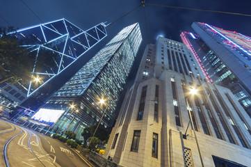 office building in Hong Kong city at night