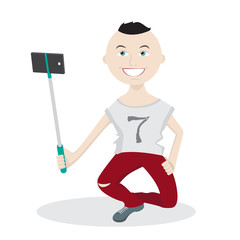 Funny guy makes a selfie