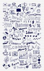 Mega set of business and finance hand drawn doodle elements
