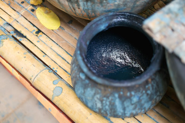Indigo Dyed Yarns Pots