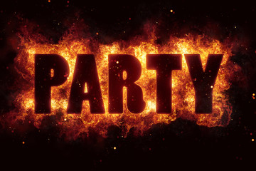 night party music text on fire flames explosion burning