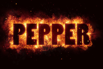 spicy hot pepper text on fire flames explosion burning