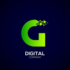 Letter G Pixel logo, Triangle, Arrow and forward logo, Green color,Technology and digital logotype
